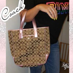 Coach bag pink tote metallic coach print logo